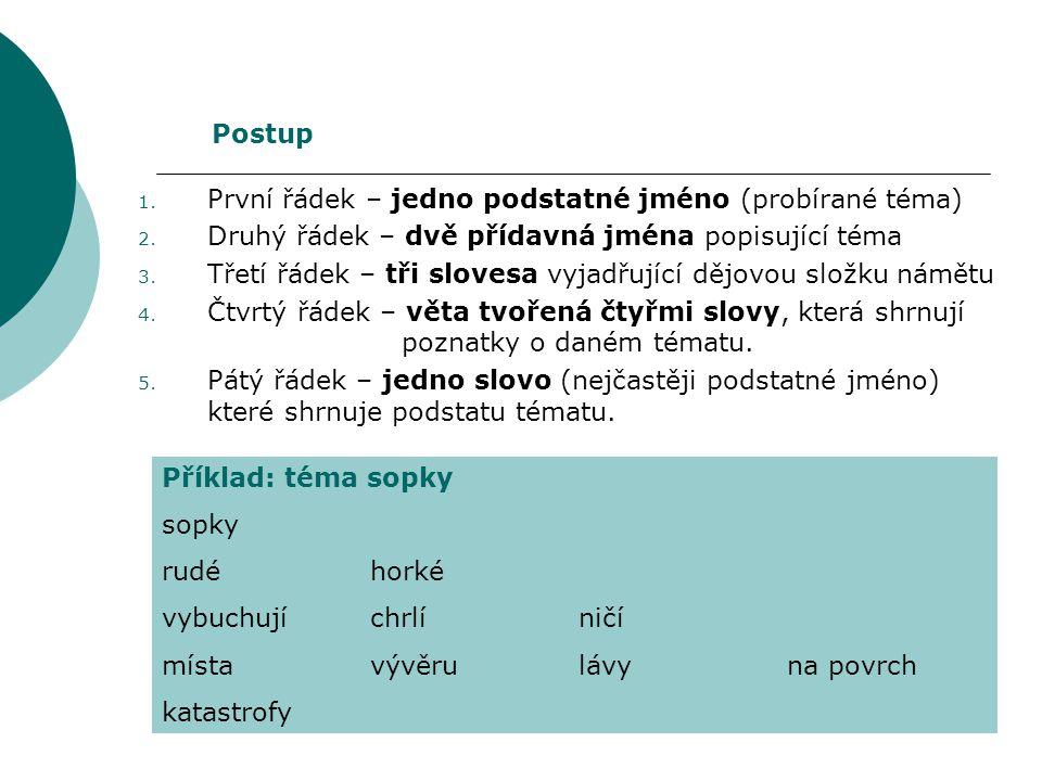 Postup První řádek – jedno podstatné jméno (probírané téma) Druhý řádek – dvě přídavná jména popisující téma.