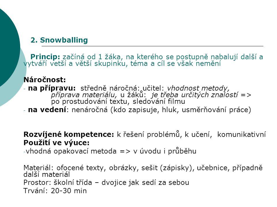 2. Snowballing Princip: začíná od 1 žáka, na kterého se postupně nabalují další a vytváří vetší a větší skupinku, téma a cíl se však nemění.