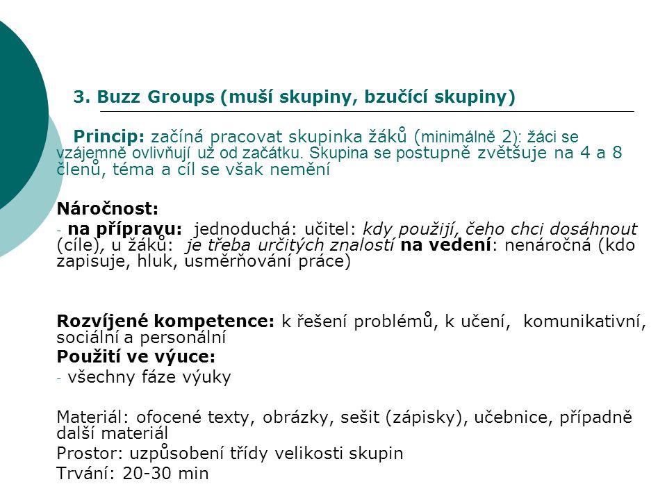 3. Buzz Groups (muší skupiny, bzučící skupiny)