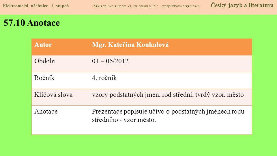 57.10 Anotace Autor Mgr. Kateřina Koukalová Období 01 – 06/2012 Ročník