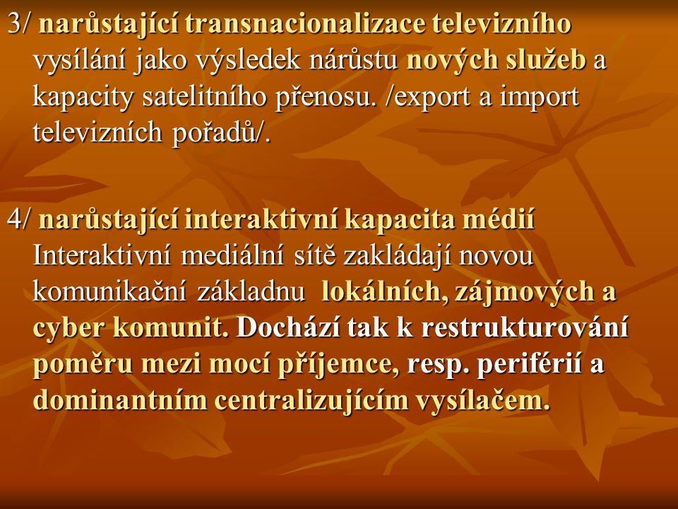 3/ narůstající transnacionalizace televizního vysílání jako výsledek nárůstu nových služeb a kapacity satelitního přenosu. /export a import televizních pořadů/.