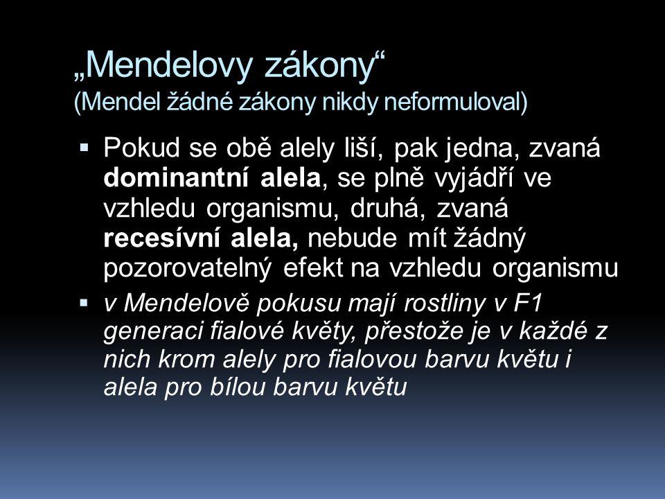 """""""Mendelovy zákony (Mendel žádné zákony nikdy neformuloval)"""