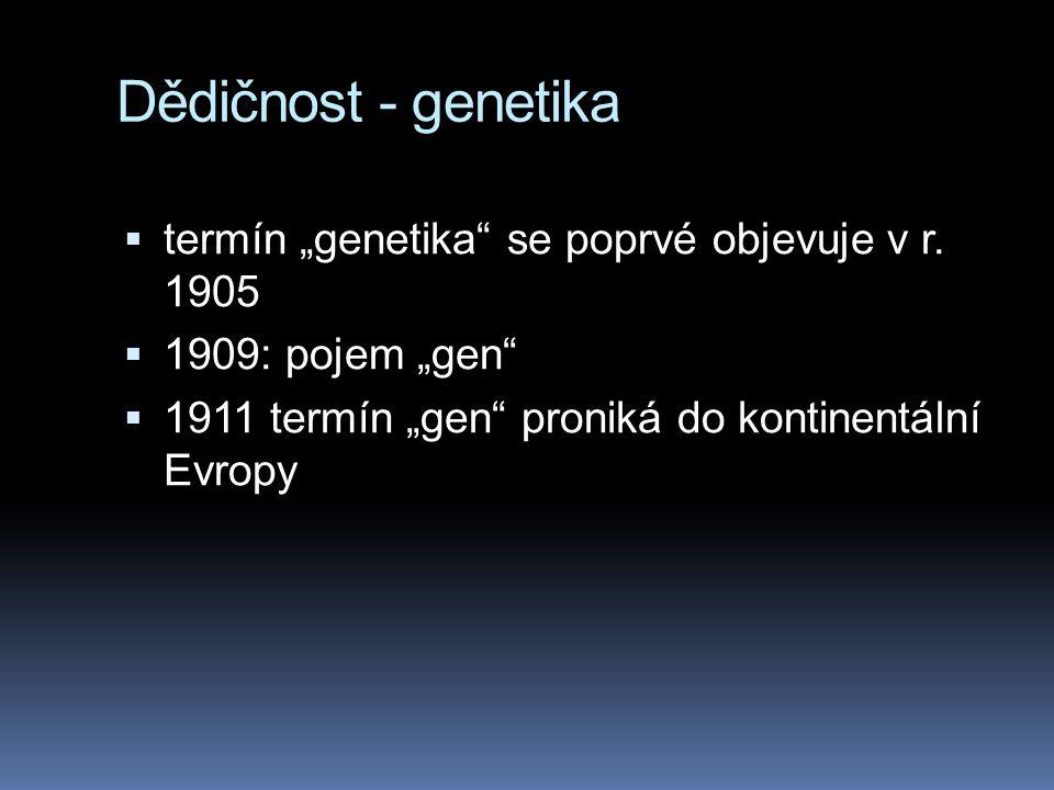 "Dědičnost - genetika termín ""genetika se poprvé objevuje v r. 1905"