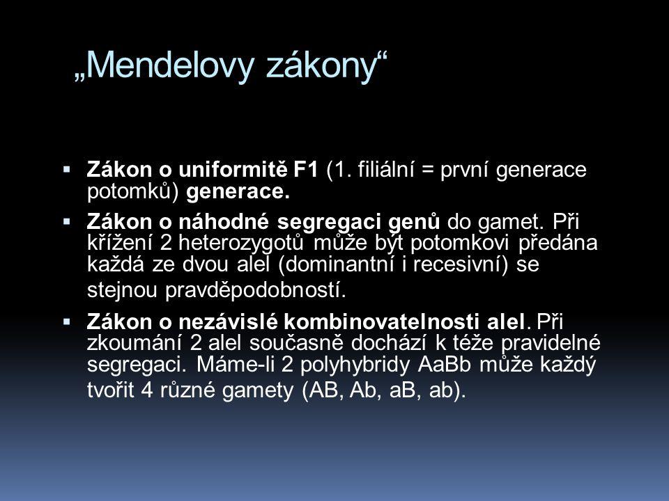 """""""Mendelovy zákony Zákon o uniformitě F1 (1. filiální = první generace potomků) generace."""