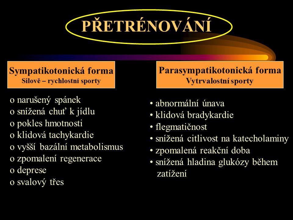 PŘETRÉNOVÁNÍ Sympatikotonická forma Parasympatikotonická forma