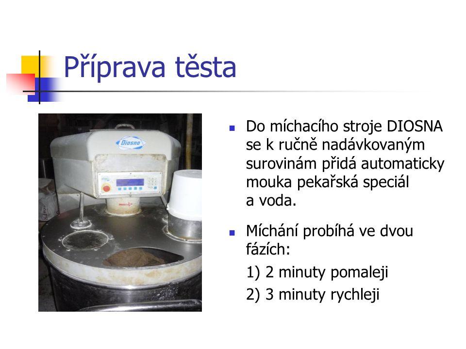 Příprava těsta Do míchacího stroje DIOSNA se k ručně nadávkovaným surovinám přidá automaticky mouka pekařská speciál a voda.