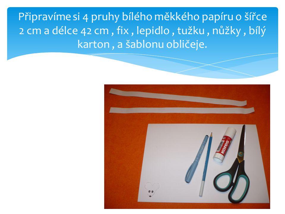 Připravíme si 4 pruhy bílého měkkého papíru o šířce 2 cm a délce 42 cm , fix , lepidlo , tužku , nůžky , bílý karton , a šablonu obličeje.