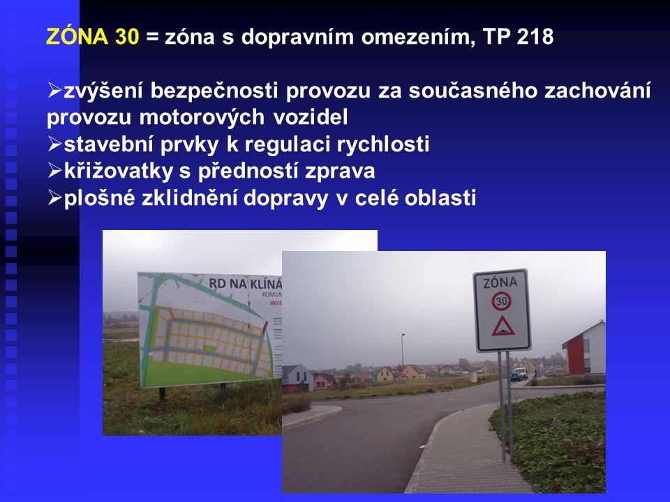 ZÓNA 30 = zóna s dopravním omezením, TP 218