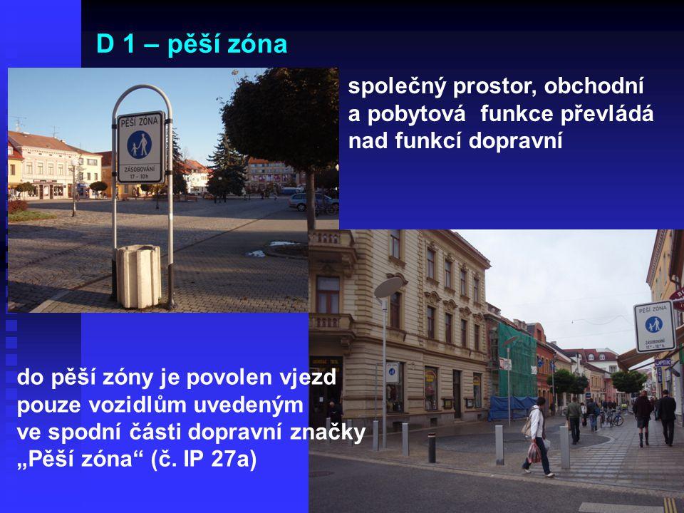 D 1 – pěší zóna společný prostor, obchodní a pobytová funkce převládá