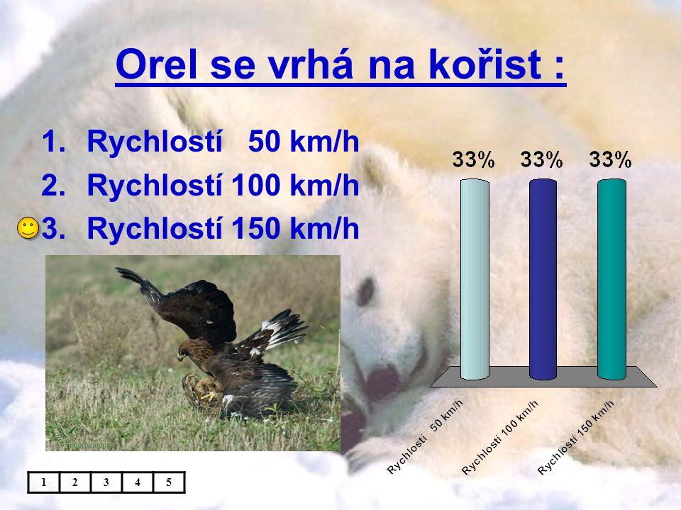 Orel se vrhá na kořist : Rychlostí 50 km/h Rychlostí 100 km/h