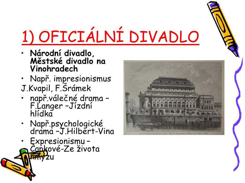1) OFICIÁLNÍ DIVADLO Národní divadlo, Městské divadlo na Vinohradech
