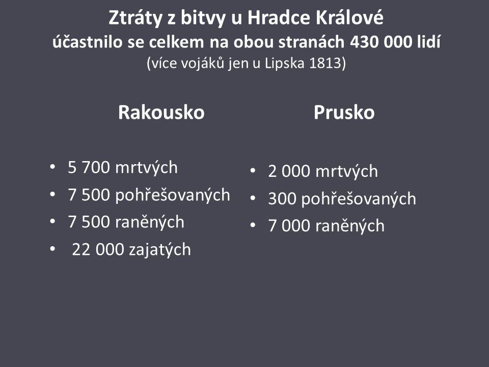 Ztráty z bitvy u Hradce Králové účastnilo se celkem na obou stranách 430 000 lidí (více vojáků jen u Lipska 1813) Rakousko Prusko