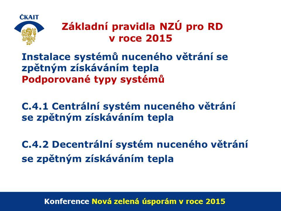 Základní pravidla NZÚ pro RD v roce 2015