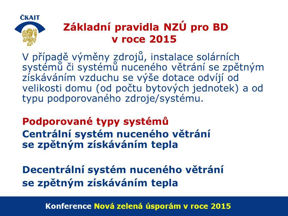 Základní pravidla NZÚ pro BD v roce 2015