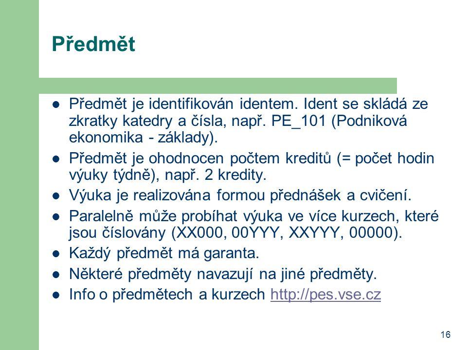 Předmět Předmět je identifikován identem. Ident se skládá ze zkratky katedry a čísla, např. PE_101 (Podniková ekonomika - základy).