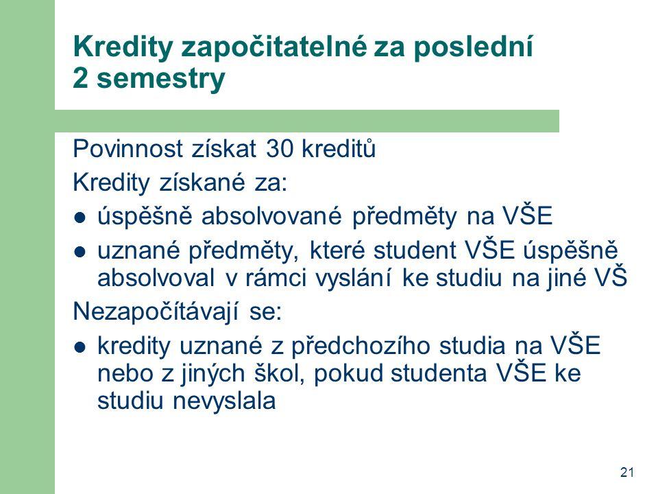 Kredity započitatelné za poslední 2 semestry