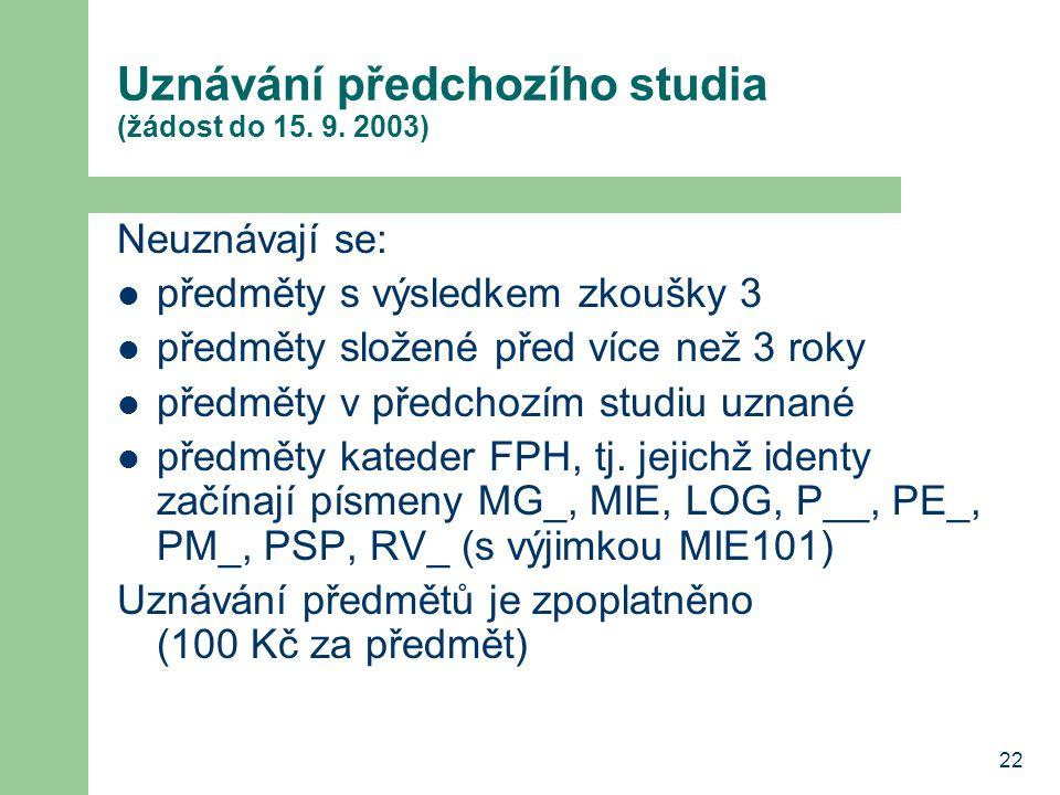 Uznávání předchozího studia (žádost do 15. 9. 2003)