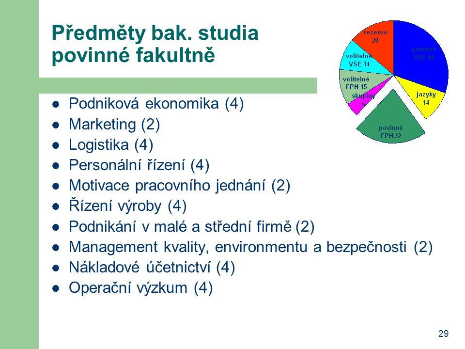 Předměty bak. studia povinné fakultně
