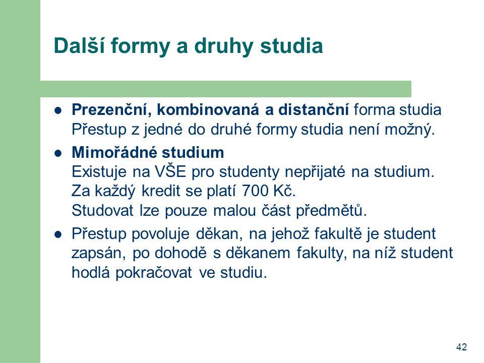 Další formy a druhy studia