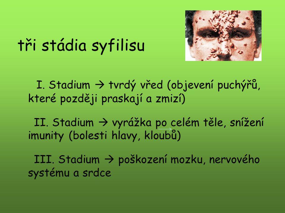 tři stádia syfilisu I. Stadium  tvrdý vřed (objevení puchýřů, které později praskají a zmizí)