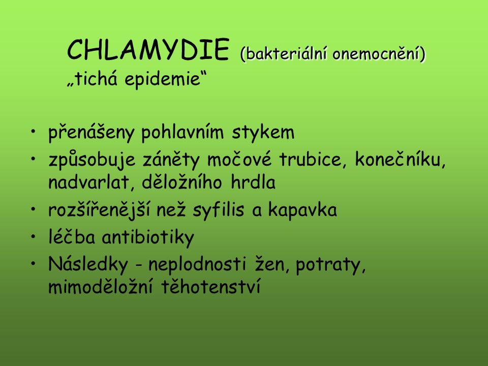 """CHLAMYDIE (bakteriální onemocnění) """"tichá epidemie"""