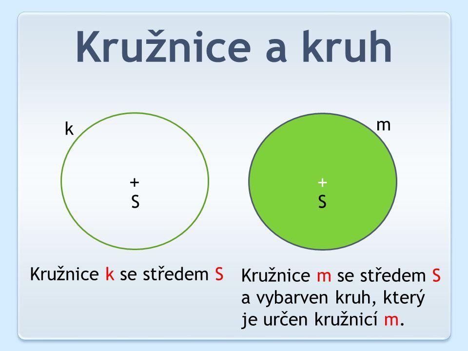 Kružnice a kruh + + k m S S Kružnice k se středem S