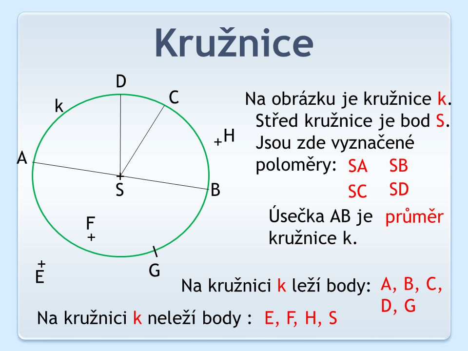 Kružnice D C Na obrázku je kružnice k. Střed kružnice je bod S.