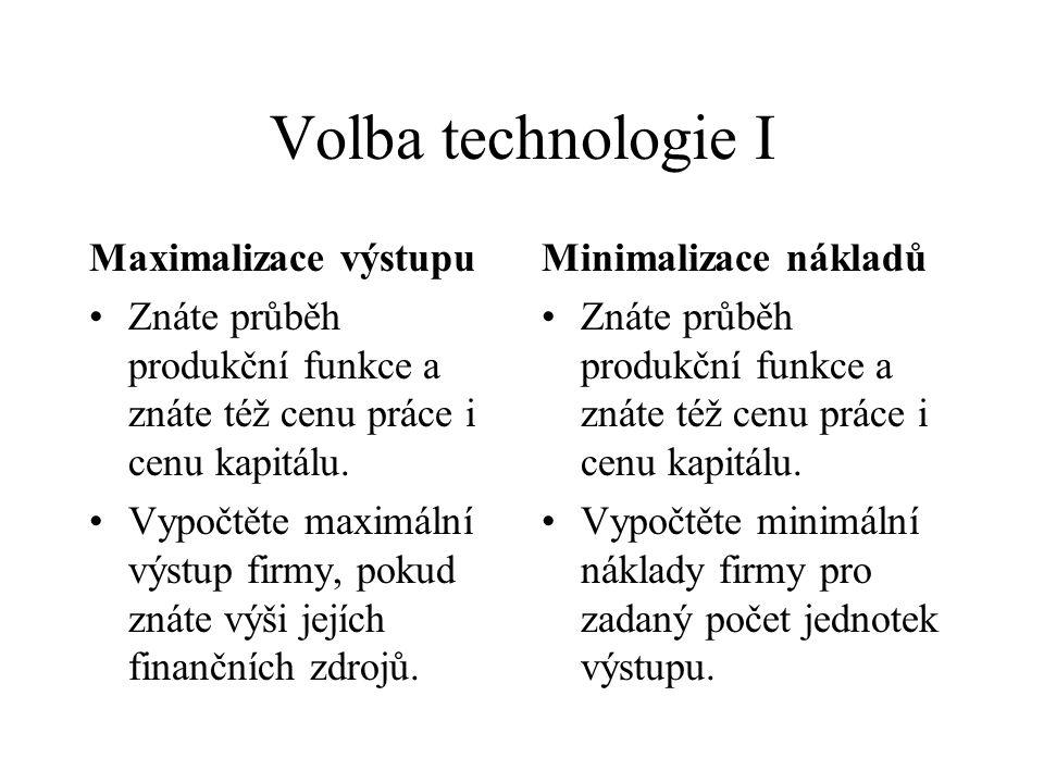 Volba technologie I Maximalizace výstupu