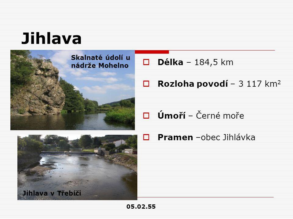 Jihlava Délka – 184,5 km Rozloha povodí – 3 117 km2 Úmoří – Černé moře
