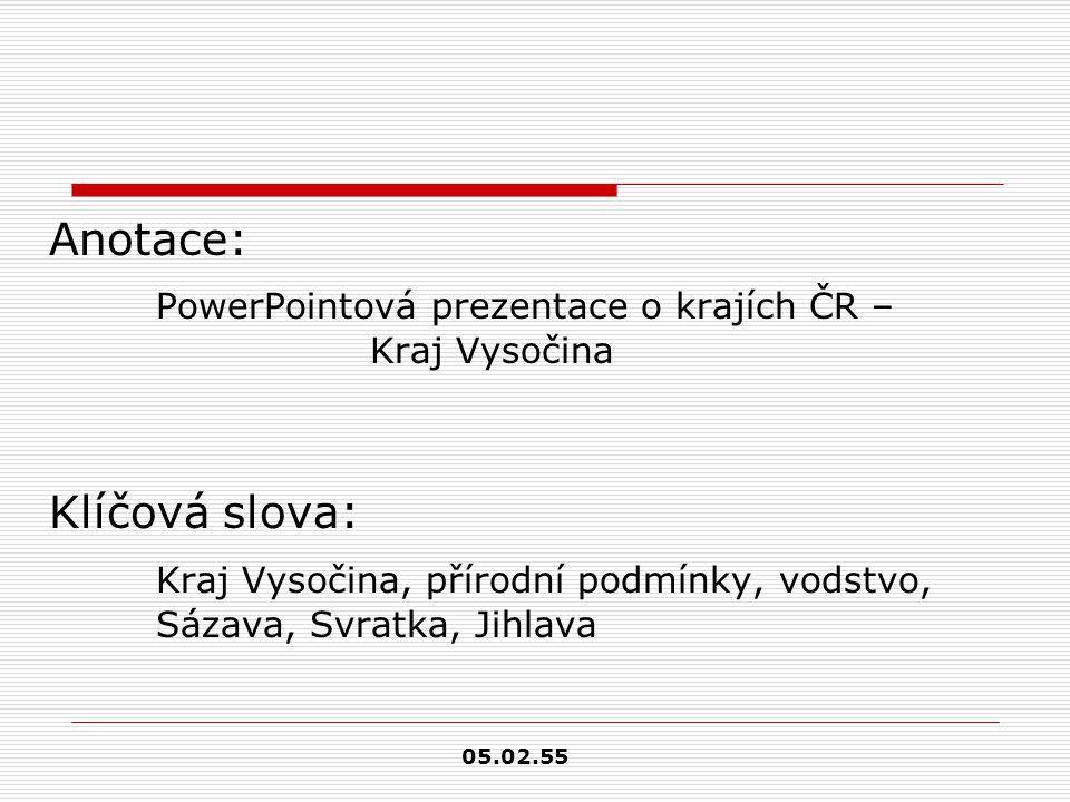PowerPointová prezentace o krajích ČR – Kraj Vysočina