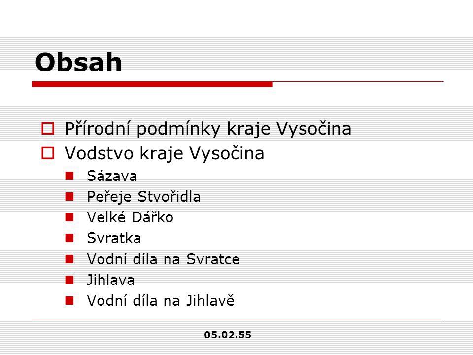 Obsah Přírodní podmínky kraje Vysočina Vodstvo kraje Vysočina Sázava