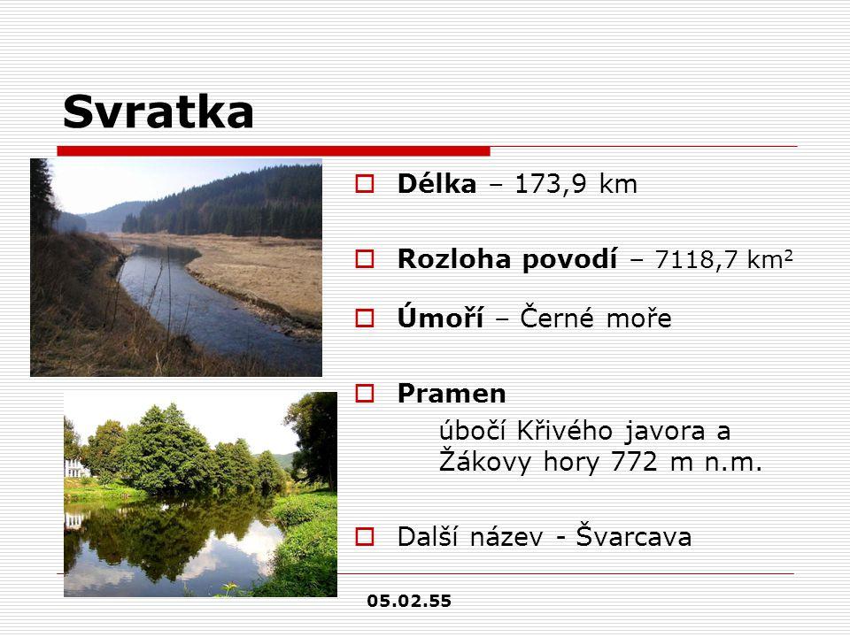 Svratka Délka – 173,9 km Rozloha povodí – 7118,7 km2