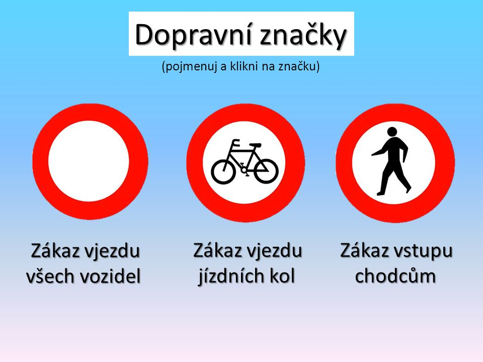 Dopravní značky Zákaz vjezdu všech vozidel Zákaz vjezdu jízdních kol