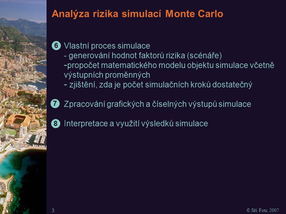 Simulace Monte Carlo I T Z = P * (c – v) – F - Faktor rizika Parametr