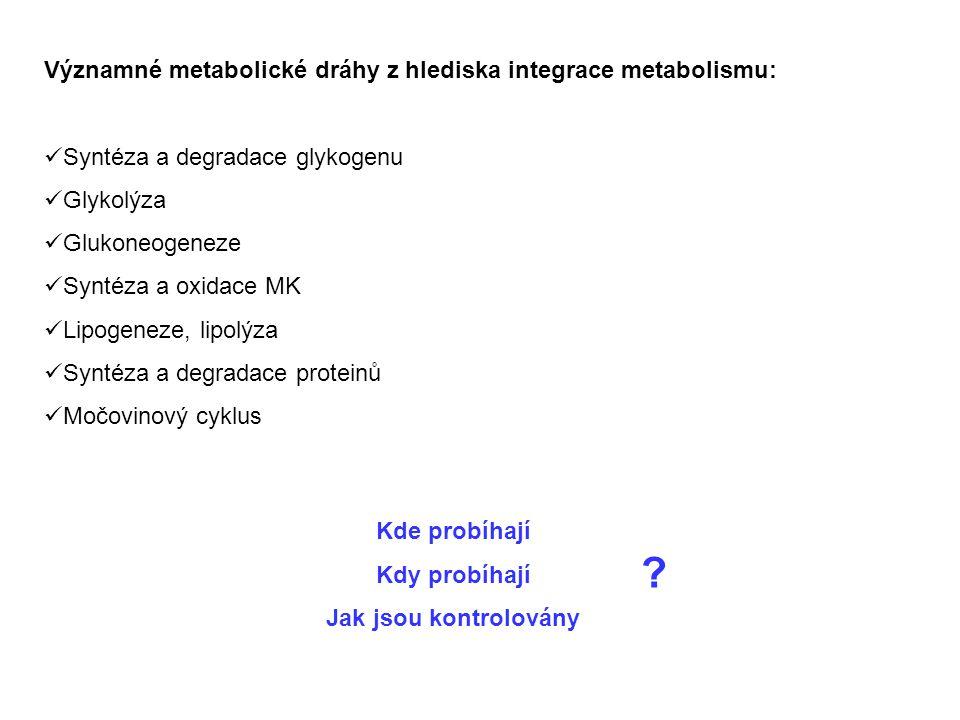 Významné metabolické dráhy z hlediska integrace metabolismu: