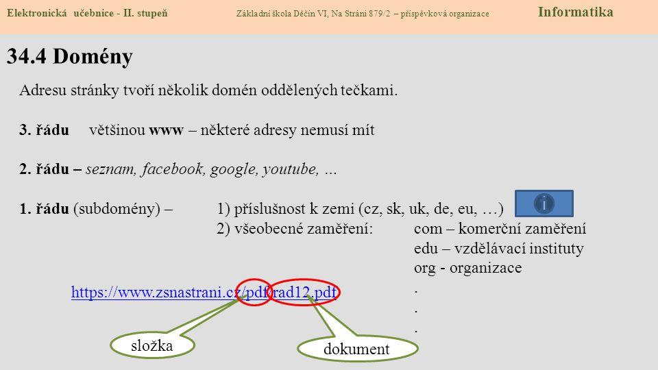34.4 Domény Adresu stránky tvoří několik domén oddělených tečkami.
