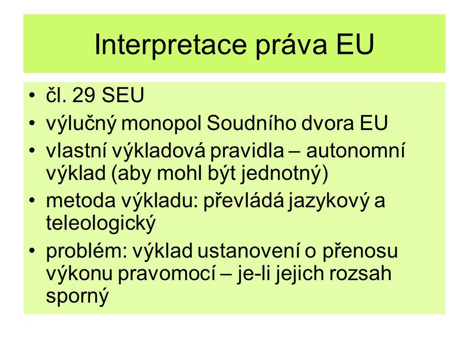 Interpretace práva EU čl. 29 SEU výlučný monopol Soudního dvora EU