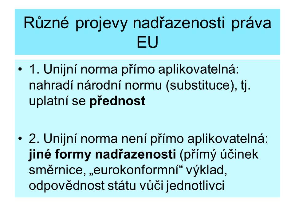 Různé projevy nadřazenosti práva EU