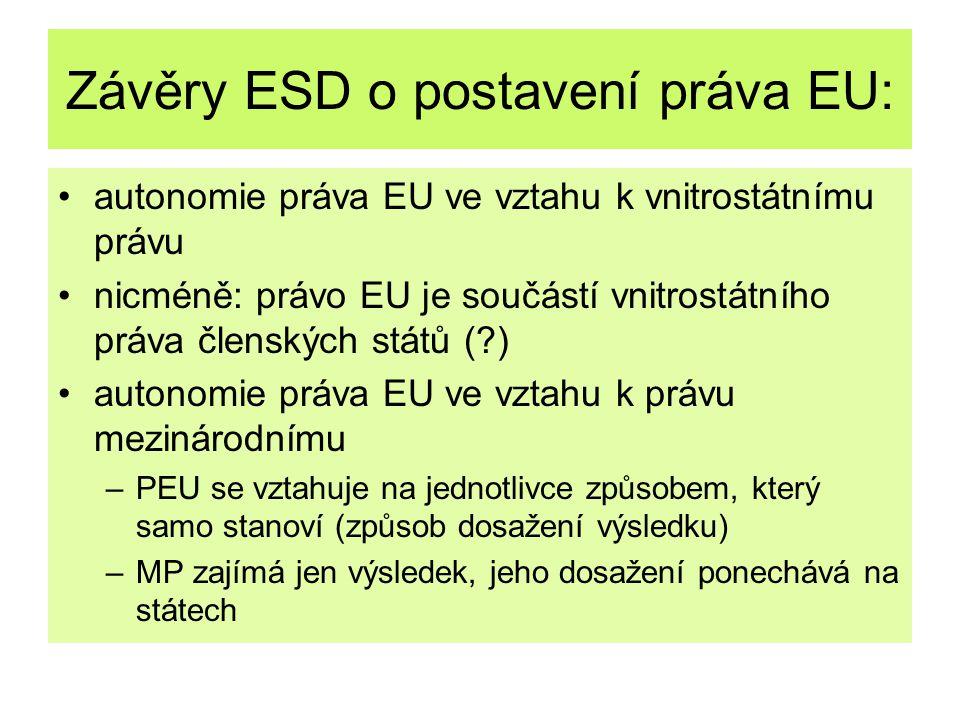 Závěry ESD o postavení práva EU: