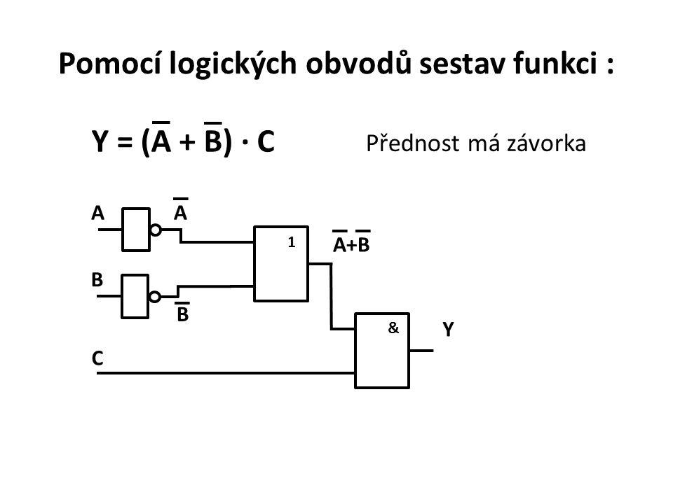 Pomocí logických obvodů sestav funkci :