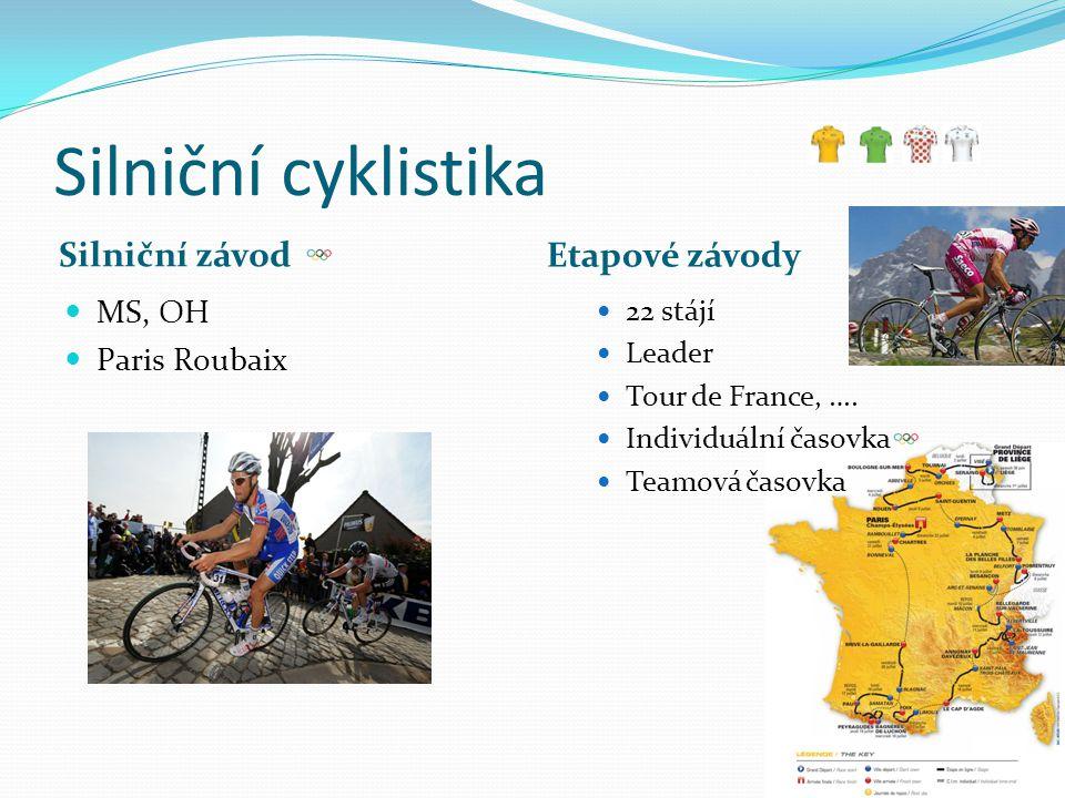 Silniční cyklistika Silniční závod Etapové závody MS, OH Paris Roubaix