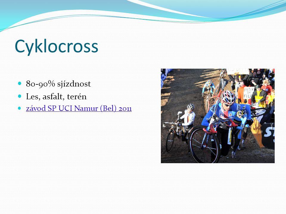 Cyklocross 80-90% sjízdnost Les, asfalt, terén