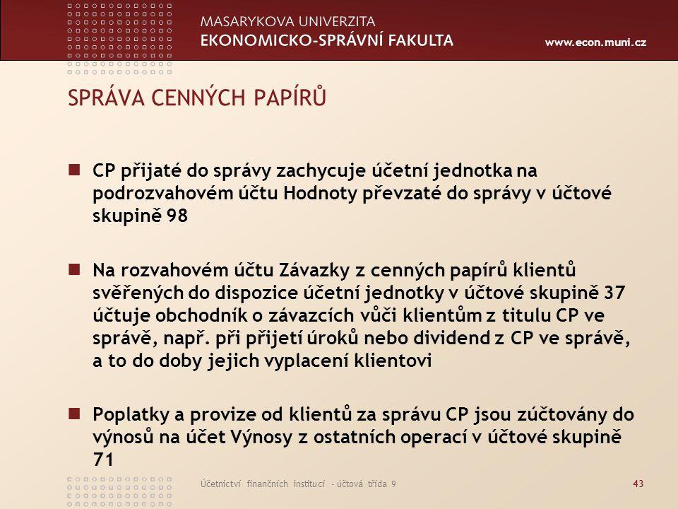 SPRÁVA CENNÝCH PAPÍRŮ CP přijaté do správy zachycuje účetní jednotka na podrozvahovém účtu Hodnoty převzaté do správy v účtové skupině 98.