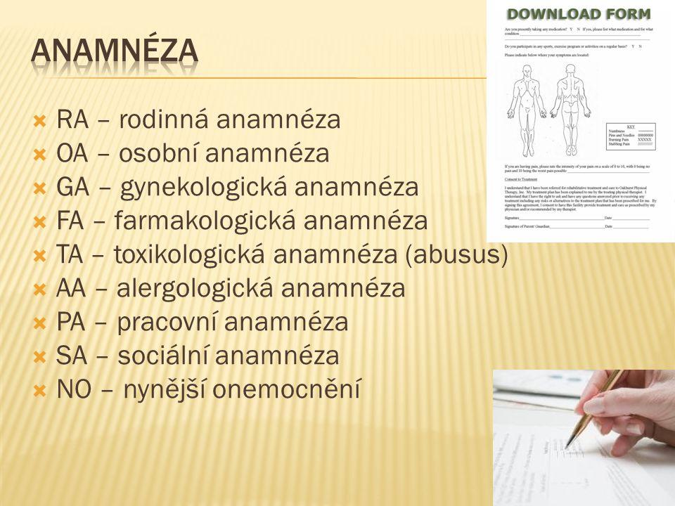 Anamnéza RA – rodinná anamnéza OA – osobní anamnéza