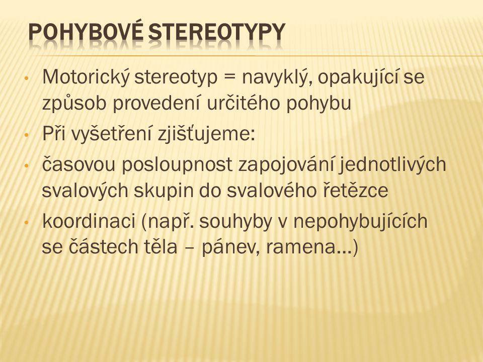 pohybové stereotypy Motorický stereotyp = navyklý, opakující se způsob provedení určitého pohybu. Při vyšetření zjišťujeme: