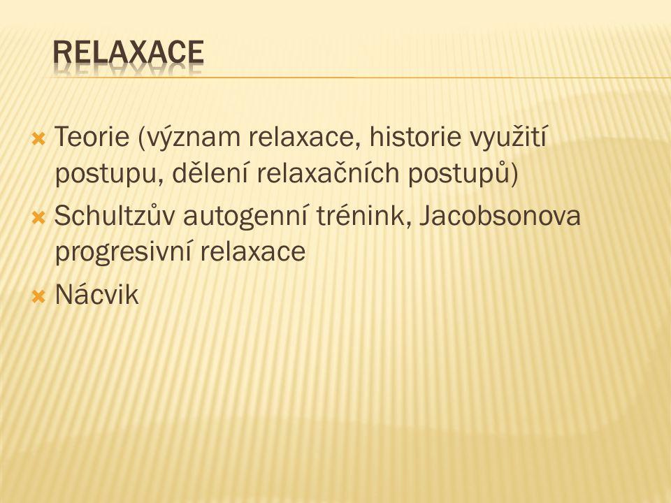 Relaxace Teorie (význam relaxace, historie využití postupu, dělení relaxačních postupů)