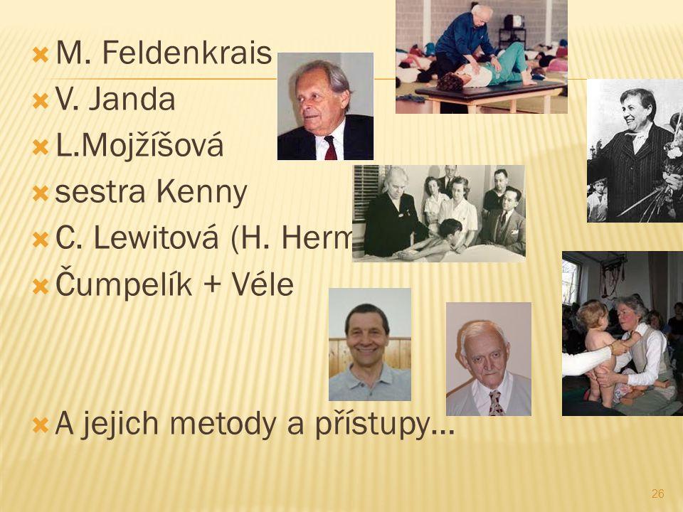 M. Feldenkrais V. Janda. L.Mojžíšová. sestra Kenny. C. Lewitová (H. Hermachová) Čumpelík + Véle.