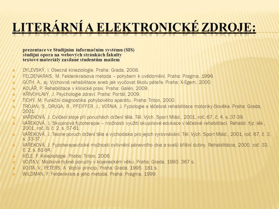 Literární a elektronické zdroje: