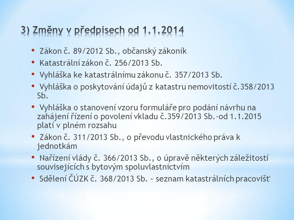 3) Změny v předpisech od 1.1.2014 Zákon č. 89/2012 Sb., občanský zákoník. Katastrální zákon č. 256/2013 Sb.