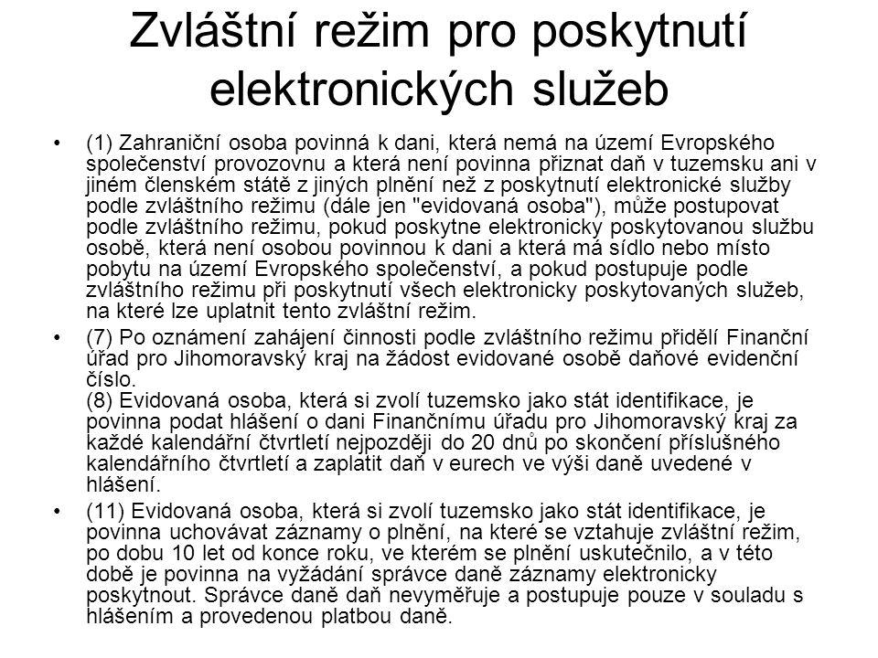 Zvláštní režim pro poskytnutí elektronických služeb